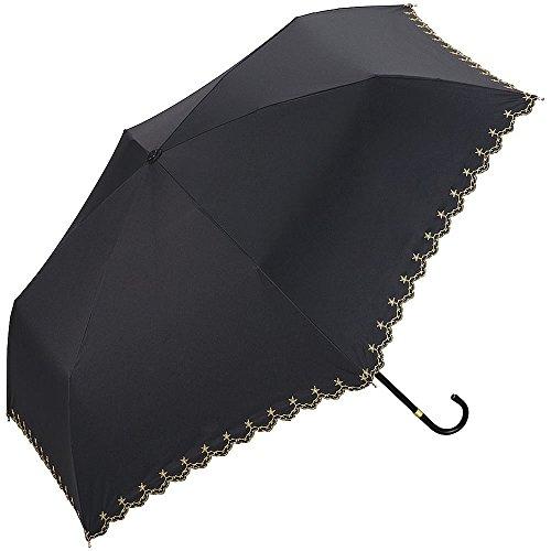 (ワールドパーティ) w.p.c 折りたたみ傘 晴雨兼用 Mini PU Coating Parasol スタースカラップミニ/ブラック