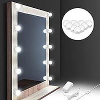 Auledio ハリウッドミラーライト LED 自然光 化粧ライト 化粧鏡照明 洗面所照明 肌の状態をはっきり見える メイク効果アップ 鏡ライト 目に優しい ドレッサー 浴室 10個電球 IP65防水 調光機能付き(鏡を含まず)