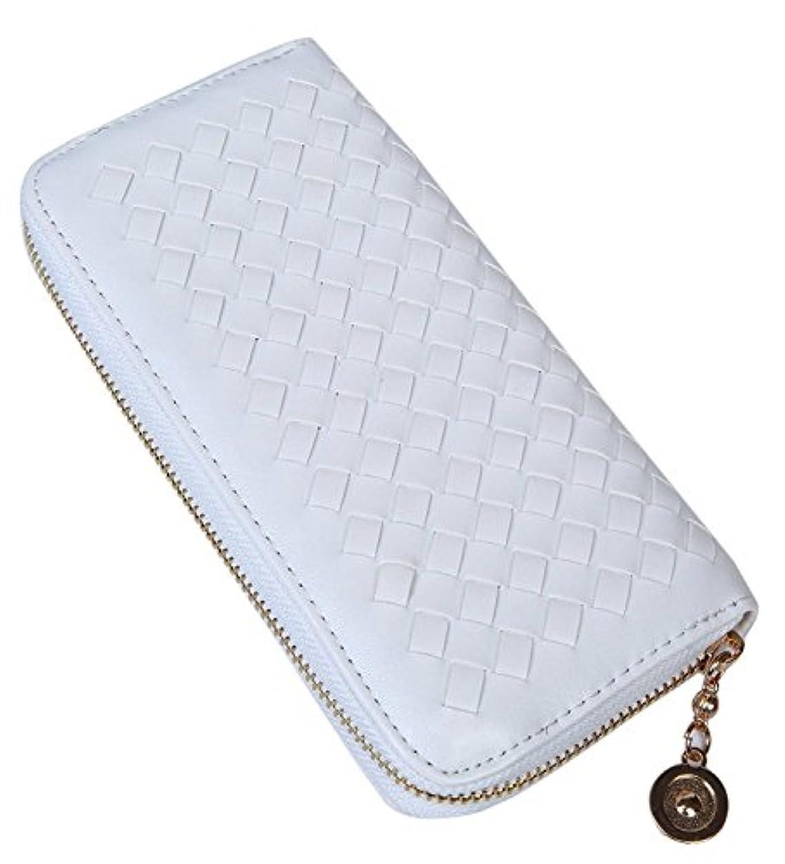 骨の折れる本物状H&Co.select 長財布 ラウンドファスナー 編込み デザイン PUレザー