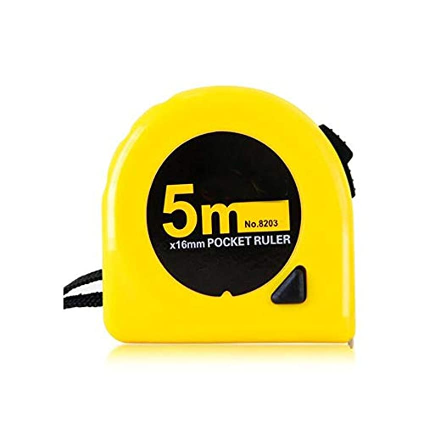茎地中海歩き回るHongyunshanghang001 鋼製巻尺、3?5 Mロック機能鋼製巻尺、木工装飾測定定規 自分の (Color : Yellow, Size : 5m*16mm)