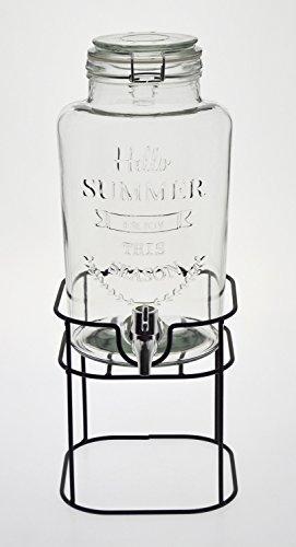 ガラス製 ジャグ ドリンクサーバー 蛇口付き 透明 3L  台座付