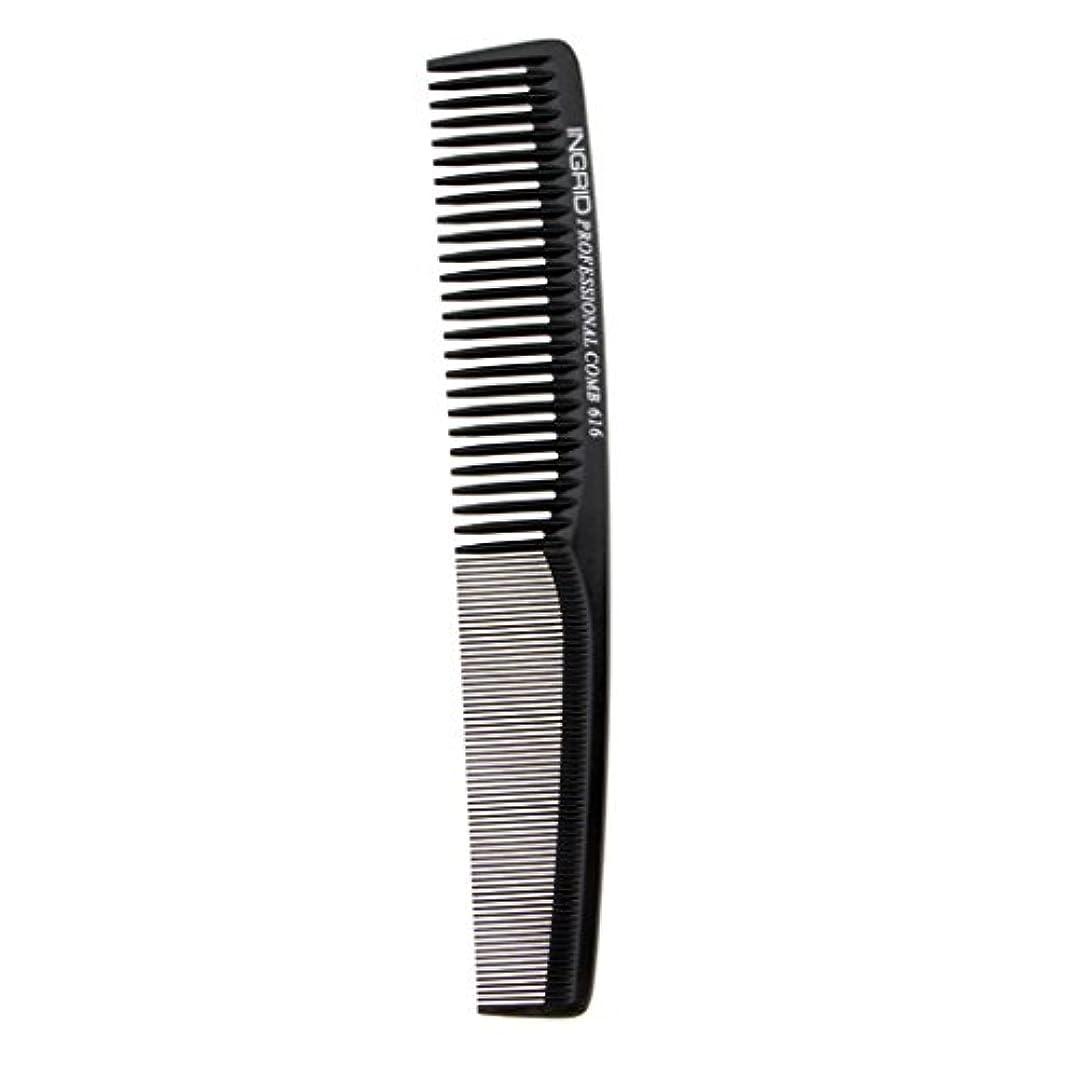 巨大最小化する持ってるInjoyo 人気のサロン帯電防止カッティングコームアンチスタティック粗?細ブラシ歯毛ブラシ - ブラック
