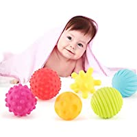 NEEDOON 6 感覚ボールセット ネットバッグ付き 楽しいお風呂の時間 赤ちゃんの幼児用お風呂おもちゃ 色認識