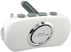 DRETEC 手回しケータイ充電 スリムラジオライト(防滴タイプ) ホワイト PR-310WT