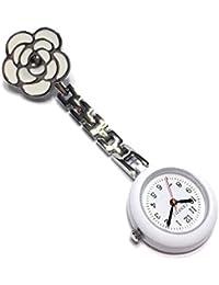 ナースウォッチ  かわいい時計 懐中時計 逆さ文字盤 ローズ  クリップ式 ホワイト