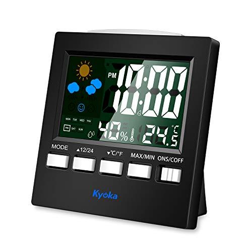 『湿度計 デジタル温湿度計 LCD大画面温湿度計 アラーム 卓上電子温湿度計 ホーム 気象計 音声センサー バックライト機能付き』のトップ画像