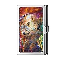 デザインスライバー名刺入れ、男性&女性 - オオカミのための金属のステンレス鋼名財布クレジットケース