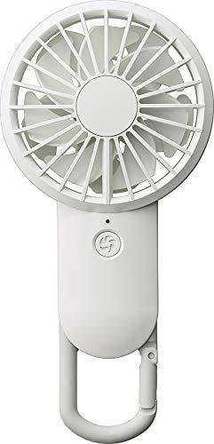 リズム時計工業(Rhythm) 携帯扇風機 白 17.7x8.5x3.5cm USBファン 充電式 カラビナ 小型 強力 DCブラシレス 9ZF026RH03
