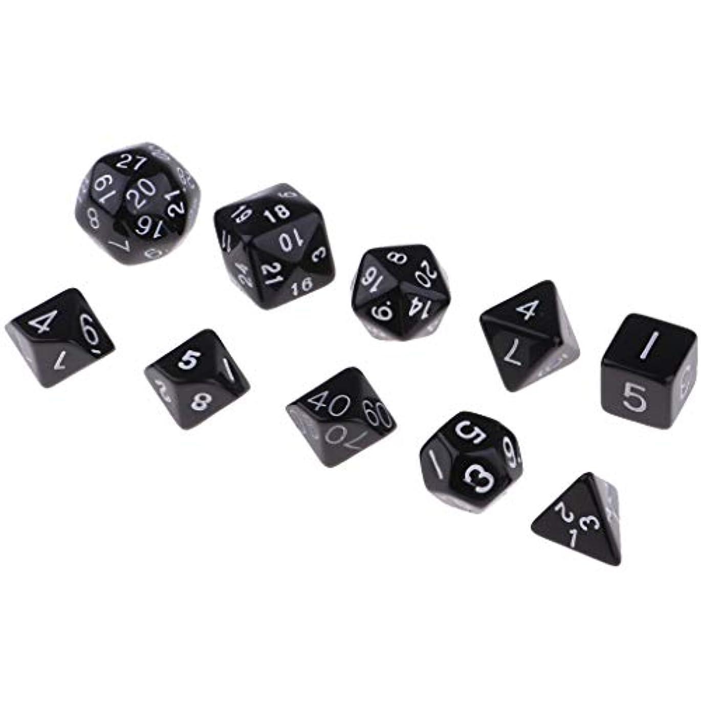 選択する粒相反する10倍多面ダイスD&Dダイスゲーム多面体ダイスD4-D30テーブルゲーム用 - 黒