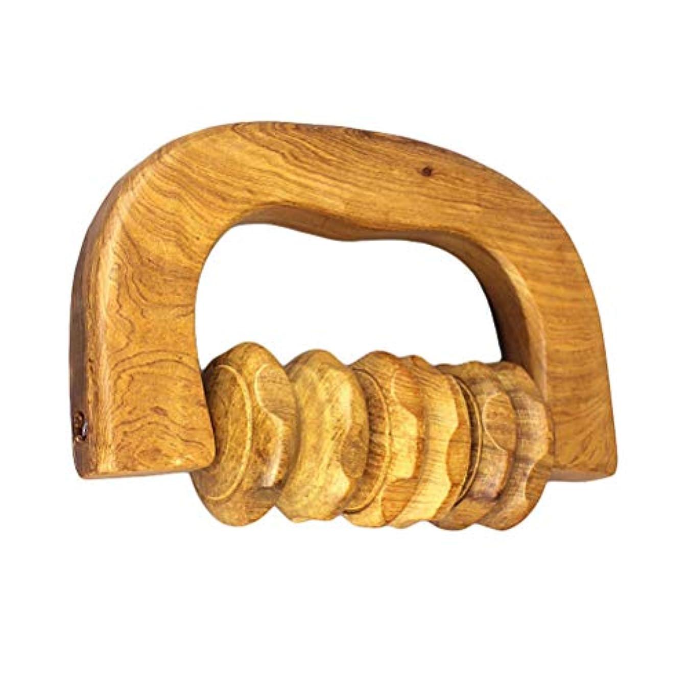 貴重な統治可能落ち着くROSENICE 木製ハンドルローラーマッサージャーイージーグリップフットボディー指圧ローラーマッサージャー
