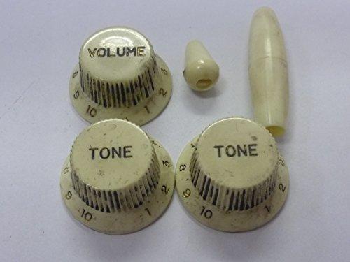(日本製)高品質 ビンテージレリック レリックホワイト STノブ スイッチノブ アームキャップ セット ミリサイズ