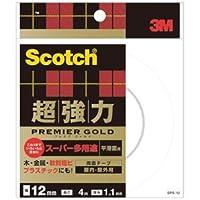 (まとめ) 3M スコッチ 超強力両面テープ プレミアゴールド (スーパー多用途) 12mm×4m