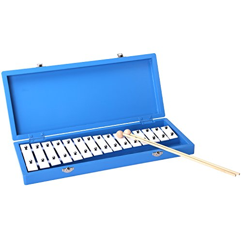 CAHAYA 鉄琴 15音 グロッケンシュピール コンパクト 軽量 ミニ鉄琴 子供用 パーカッション 木箱入り バチ付き アルミ製