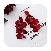 2019新しい甘い誇張赤い大きなアクリル花びらタッセルステートメントドロップイヤリング用女性女の子結婚式耳アクセサリーBrincos-8-