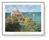 ポスター クロード モネ ヴァランジュヴィルの崖の漁師小屋 1882