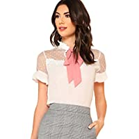 Floerns Women's Short Sleeve Tie Neck Mesh Patchwork Chiffon Blouse White M