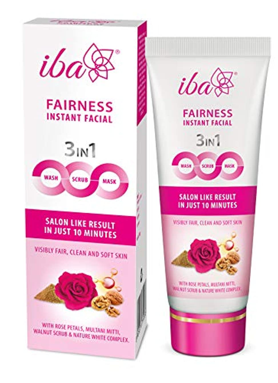 快いフォーカス裏切りIba Halal Care Fairness Instant Facial (3in1 Mask Scrub Facial Wash), 100g