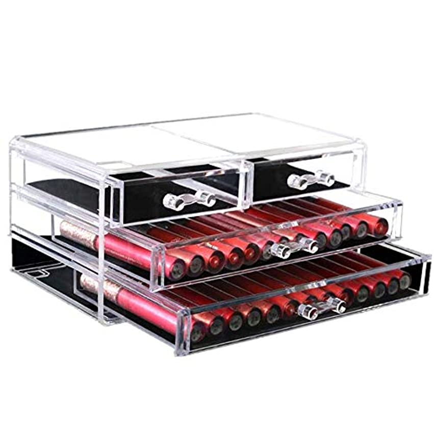 すなわち曲げるまばたき整理簡単 引出しの構造の宝石類のディスプレイ?ボックスが付いている簡単で明確なアクリルの化粧品のオルガナイザー (Color : Clear, Size : 24*13.5*11CM)