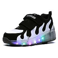 Leawin(リーウィン)ローラーシューズ 男の子 女の子 キッズ ジュニア 子供靴 スニーカー 光る靴(ブラック×ホワイト,20.5cm)  ●サイズ表 ◆「ラベル