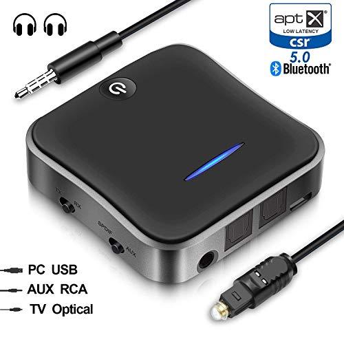 Bluetooth 5.0 トランスミッター レシーバー 受信機 送信機 一台二役 2台同時接続 高音質 低遅延 低ノイズ RCA AUX SPDIF接続 26時間連続作動(MAX)