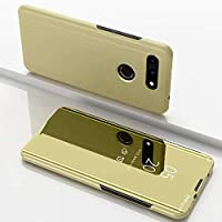 革製ケース Huawei View 20用電気メッキミラー水平フリップレザーケース、ホルダー付き 新しいケースカバー (色 : Gold)