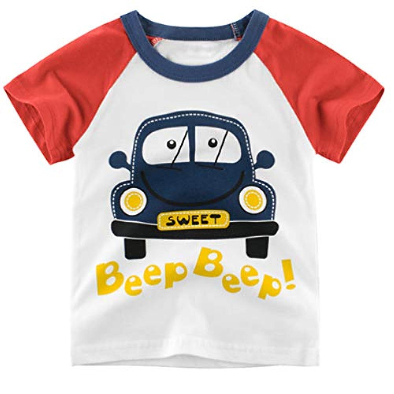 (ワボーズ)Waboats キッズ 子供 幼児服 綿 半袖Tシャツ ボーイズ 夏 Tシャツ 漫画プリント