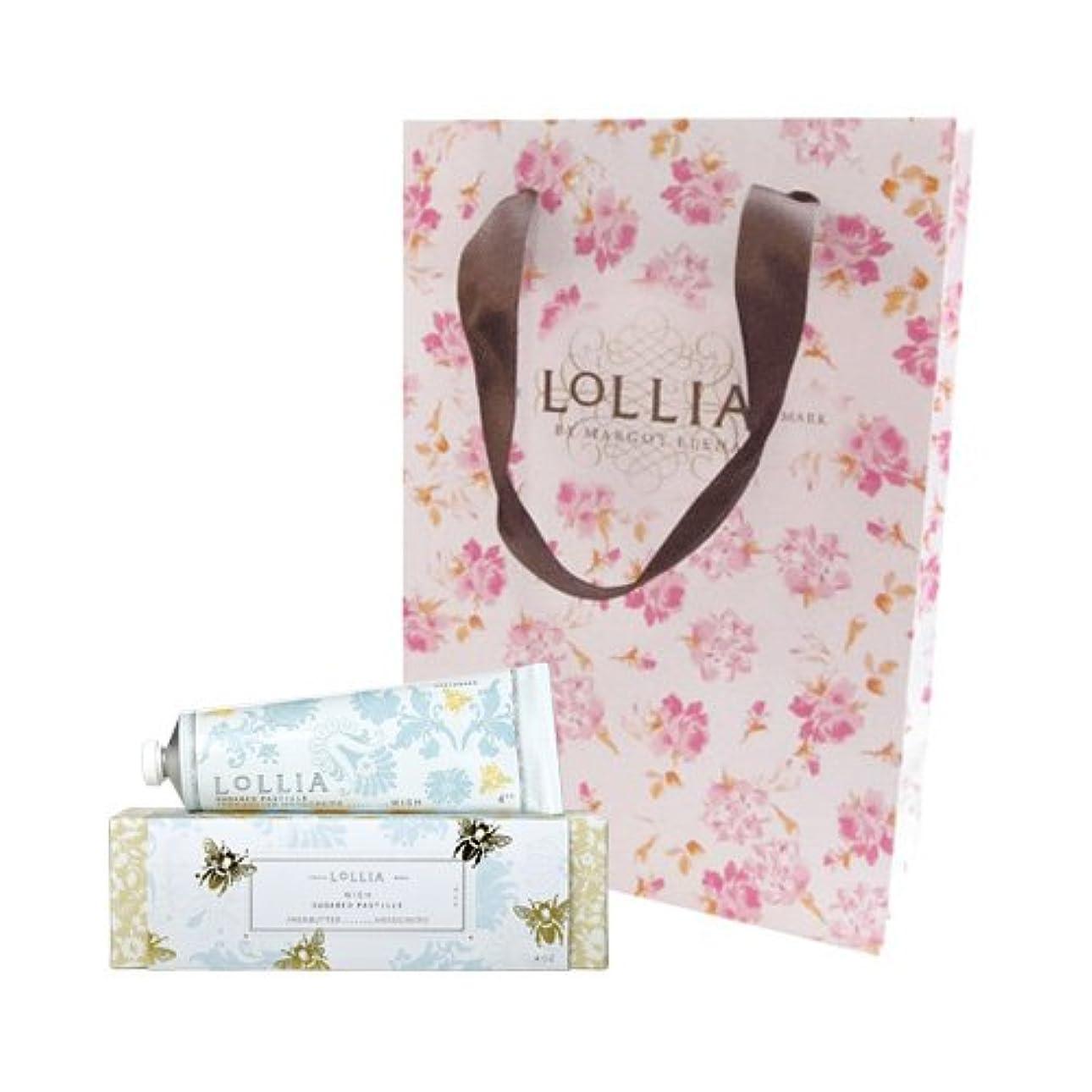 ビン縞模様の程度ロリア(LoLLIA) ハンドクリーム Wish 35g (白い花にしたたる蜜とバニラの甘く切ない願い) ショッパー付