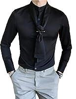 DeBangNi メンズ シャツ ワイシャツ 長袖 ビジネス オールシーズン ビジネスシャツ ボタンダウン 無地 純色 ネクタイ付き オフィス トップス スリム フォーマル 韓国風 ベーシックブラックN4