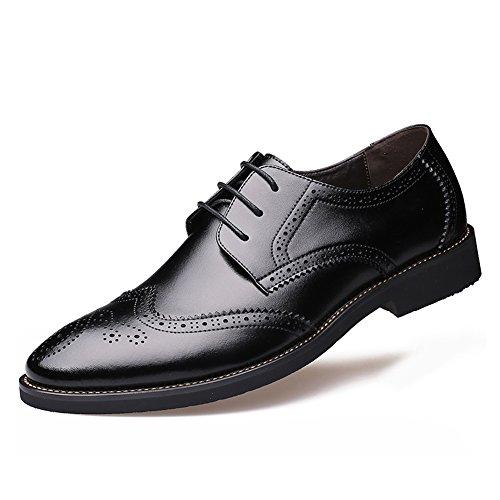 おずこ(OZUKO)メンズ ビジネスシューズ レースアップ 革靴 本革 紳士靴 ブローグ 外羽根 結婚式 スーツ 靴 (255, ブラック)