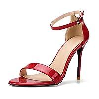 [MUMUWU] ピンヒール ハイヒール レディース 通勤 美脚 歩きやすい シンプル ジュース 歩きやすい (Color : 赤, Size : 25 cm)