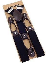 SD 男女兼用 ストックホルムサスペンダー ブラック メンズ レディース 革つなぎ 35ミリ 幅広タイプ 6ボタン STOCKHOLM-BK