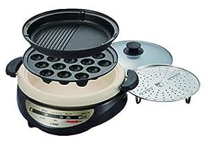 タイガー グリル鍋 深鍋・たこ焼き・焼肉プレート&蒸し台付き ブラウン CQG-A300-T