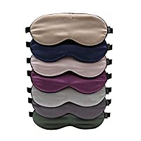 100% Natural Silk Sleep Eye Mask with Elastic Strap, Extremely Soft & Smooth, Blindfold for Full Night Sleep, Travel, Nap (Random Color, Pack of 7)