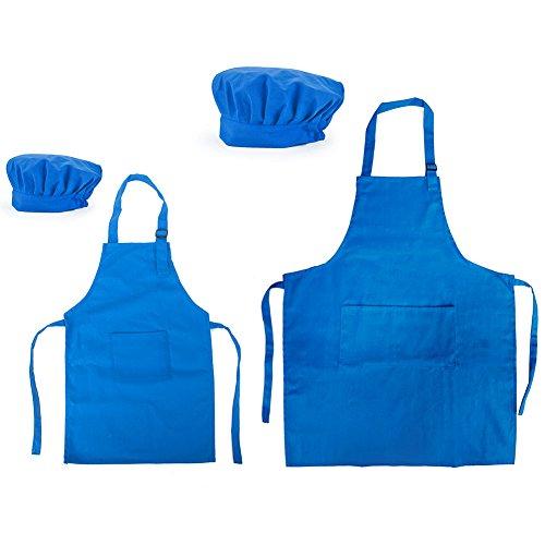Opromo 多色 子供用 コットンキャンバス エプロン+帽子 ポケット付き(1セットの価格) - ブルー 親子ペア - L