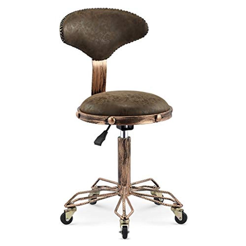 歌手膨らませる写真を描く回転椅子-美容スツール理髪店の椅子ヘアサロンロータリーリフトスツールメイクヘアサロンプーリーチェア散髪 (Color : Leather brown)