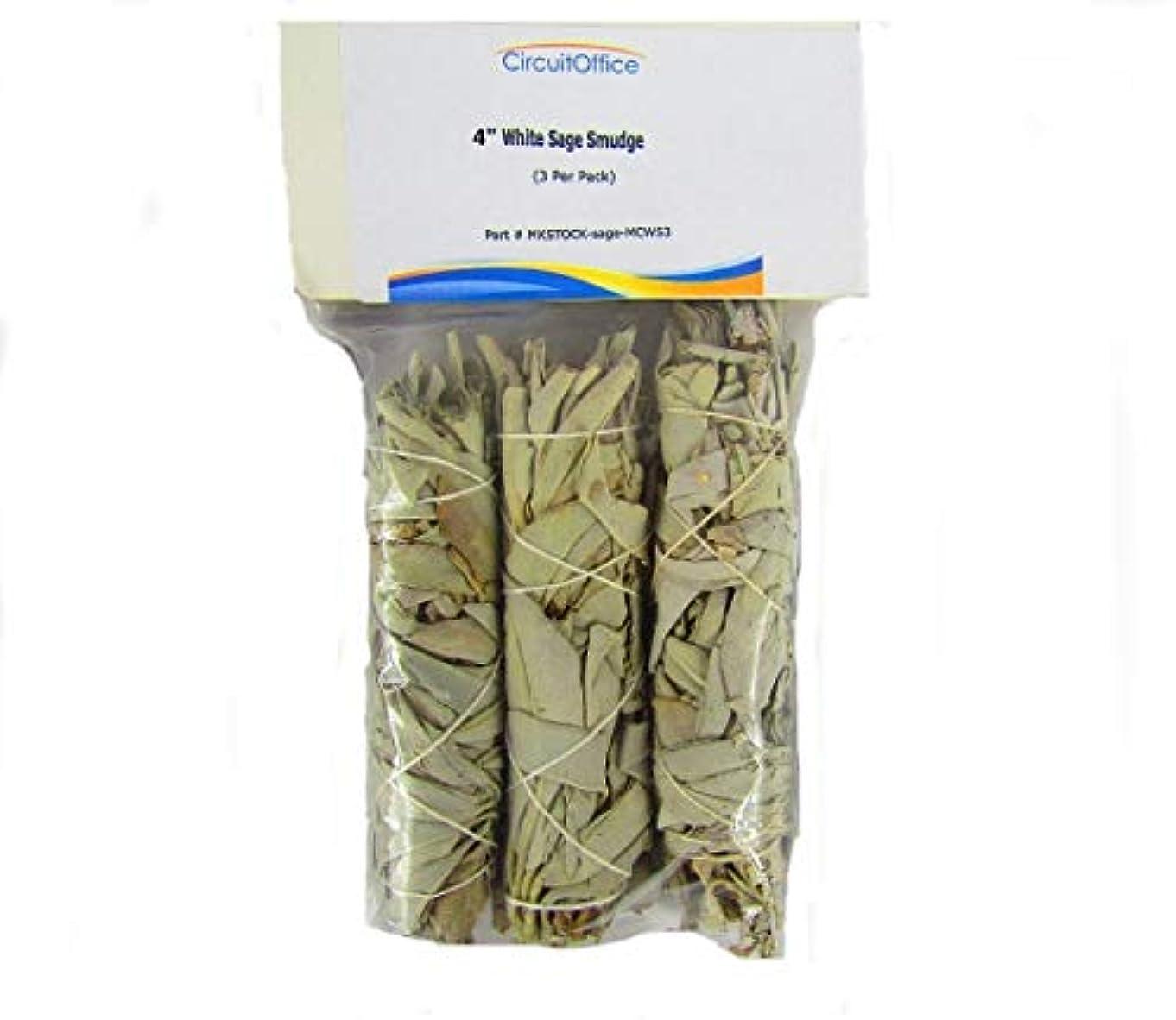 糸救いゴムCircuitOfficeカリフォルニアMiniセージWands、4-inch Smudge Stick、3パック、ホワイトセージ