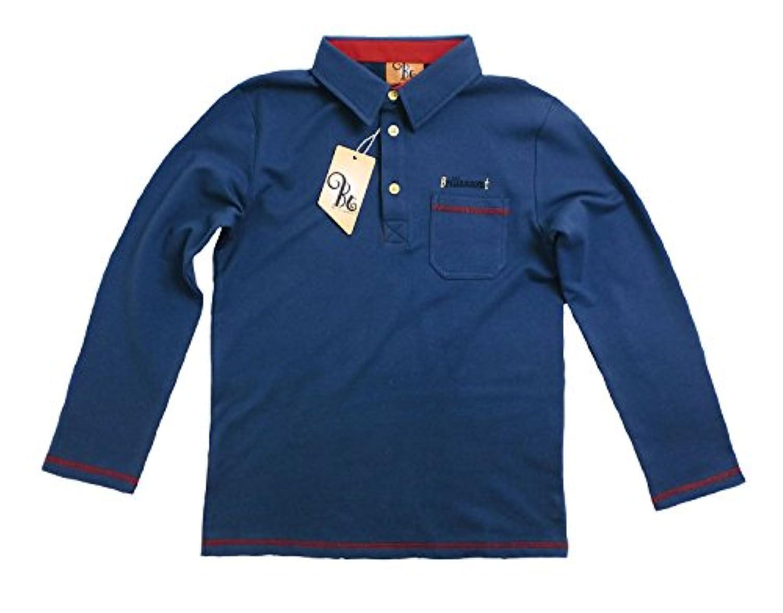 英国小紳士 刺繍入りきちんと感ある長袖ポロシャツ (JPBt)ブルー 150-160cm