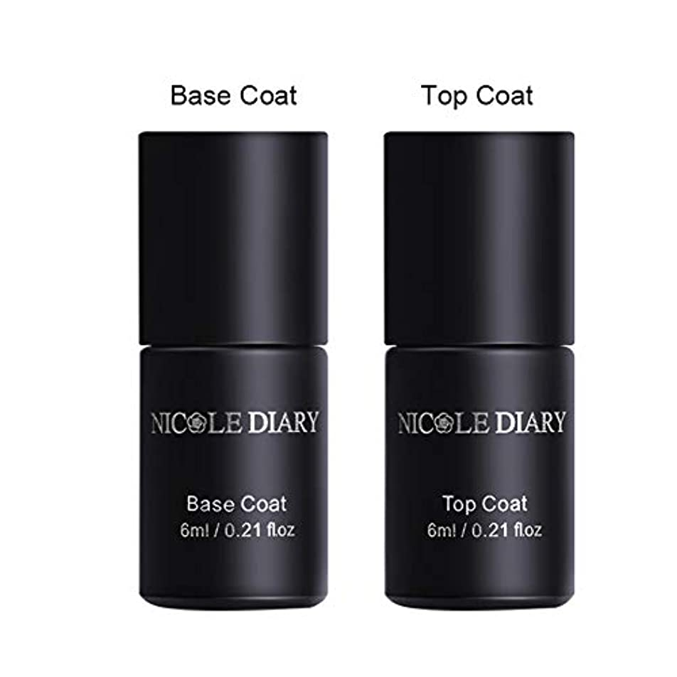 定期的ペチコート合併NICOLE DIARY ベース&コート2本セット 6ml/本 トップジェル 拭き取り不要 鏡面仕上がり ベースコート 高密着 地爪に強化 塗りやすい UV/LED対応 クリアジェル ジェルネイル [並行輸入品]