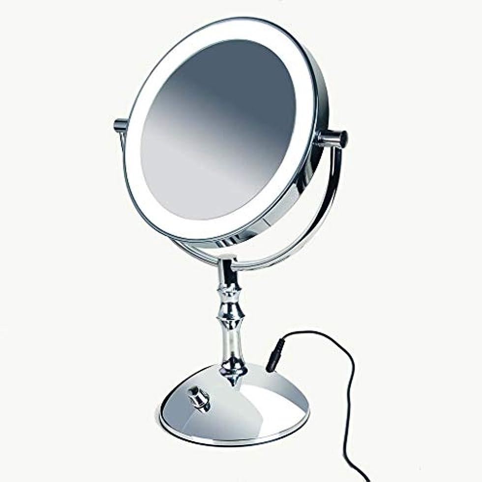 個性カロリーカテナ洗面化粧台ミラー ライト付き化粧鏡 - LED拡大鏡3倍、ライト付き両面バニティミラー、ACアダプタまたはバッテリ駆動、360°回転、スタンド付きナチュラルミラー 化粧鏡 (Color : Silver, Size :...
