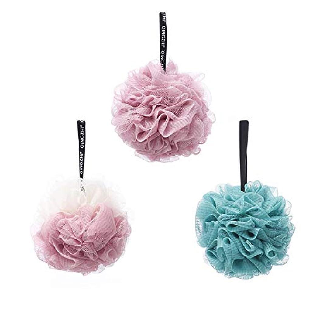 白いくぼみ化粧Chinashow ルーファ バス スポンジ(各50グラム)ナイロン メッシュ エクスフォリエーティング シャワー スクラバー ボール 3のセット