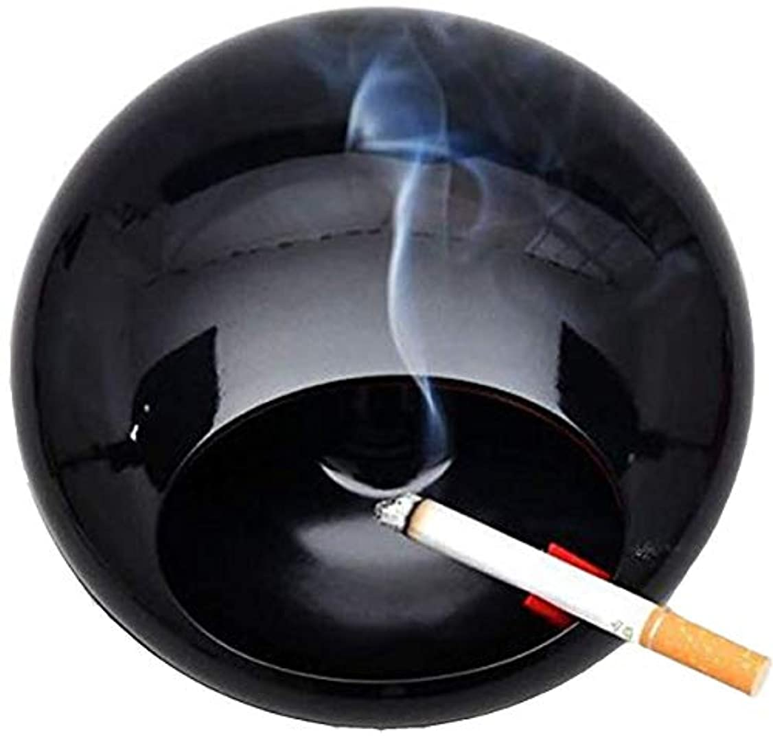 めまいアルネクランシー蓋メラミン磁器煙すすコレクター黒と灰皿を回転させます