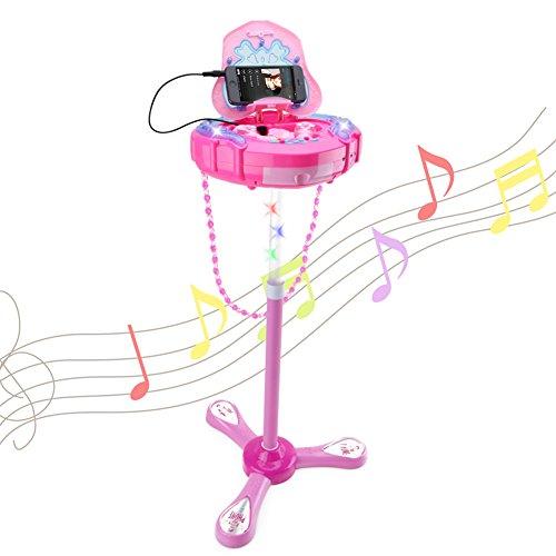 カラオケステージマイク アイドルごっこ 楽しくうたおう - Happytime ZM18019 スタンドマイク 組み立て式 調節可能 ミュージックバッグ 女の子のおもちゃシリーズ 知育玩具