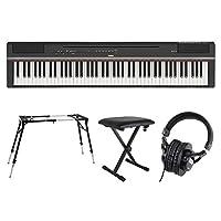 YAMAHA P-125B ブラック 電子ピアノ スタンド ベンチ ヘッドホン 4点セット [鍵盤 Fset]