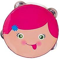 Lovoski 木製 タンバリン ガラガラ鼓 KTV パーティー 祭り 音楽玩具 全2パタン選べ  - ピンク