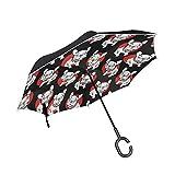 逆さ傘 逆傘 長傘 日傘 逆折り式傘 晴雨兼用 梅雨対策 UVカット 耐強風 C型 二重構造 車用 (犬 ペット 個性的 ブラック)