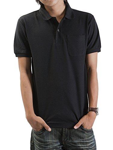 ティーシャツドットエスティー ポロシャツ 半袖 無地 鹿の子 ポケット付き UVカット 5.8oz メンズ ブラック 4L