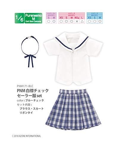 ピュアニーモ用 PNM 白襟チェックセーラー服セット ブルーチェック (ドール用)
