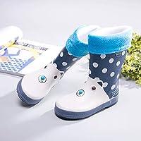 レインブーツ- 子供の男性と女性の雨のブーツ四季子供の滑り止めのゴム製の靴プラスベルベット暖かいベビーウォーターシューズ (色 : 濃紺, サイズ さいず : 厚いです)