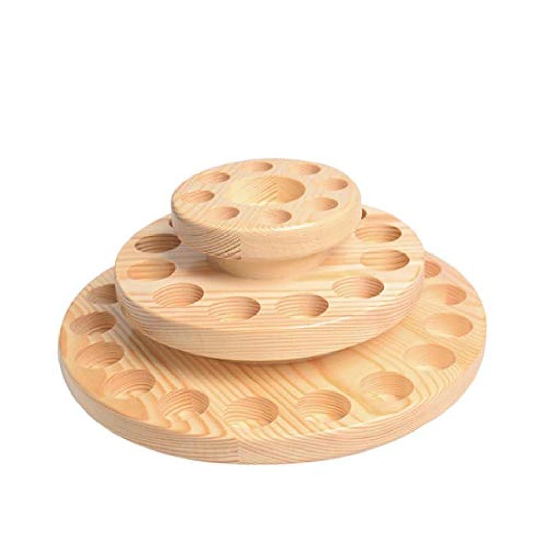 TINKSKY アロマオイルスタンド エッセンシャルオイル収納 精油 ディスプレイスタンド 木製 回転台 精油収納 見つけ易い 39本用