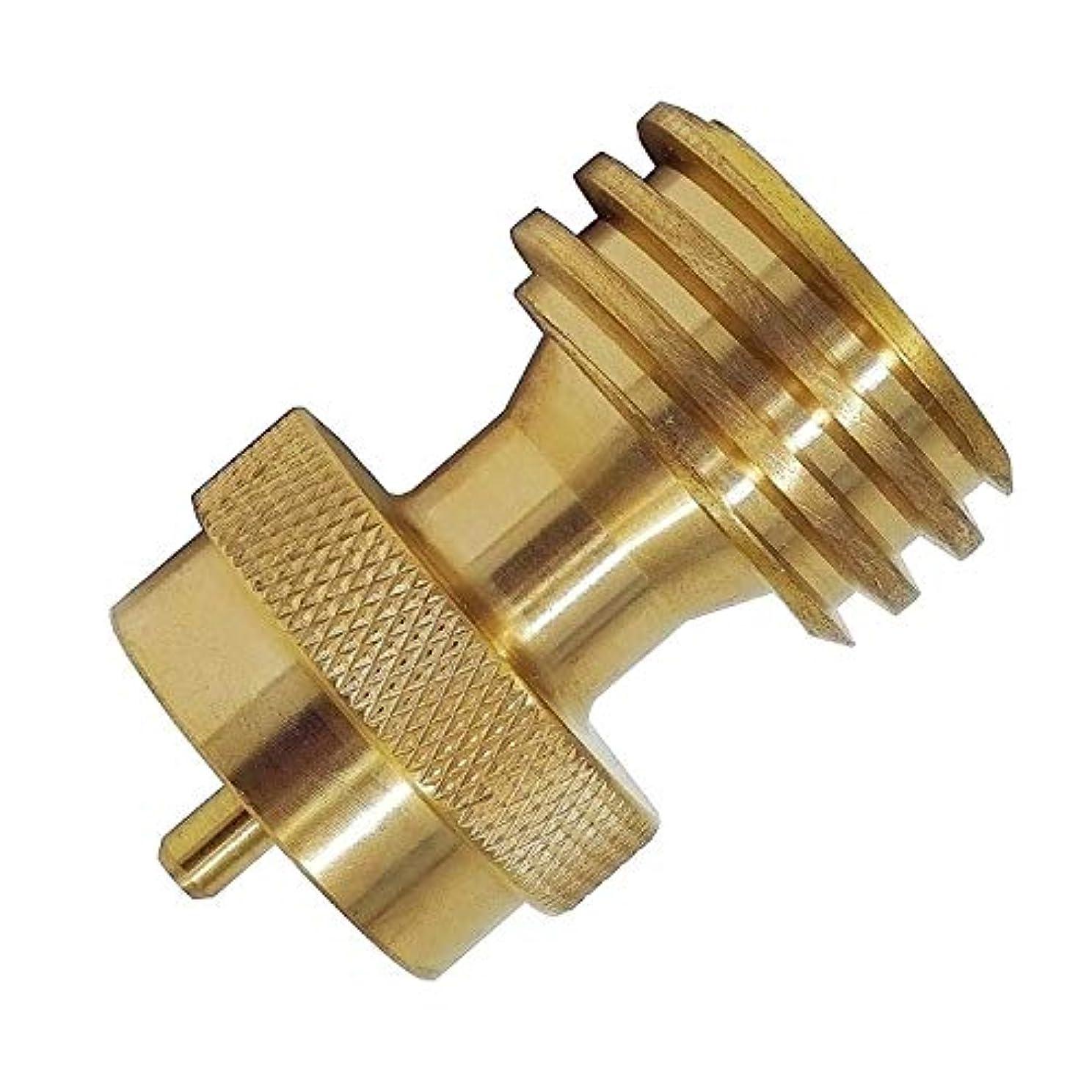 気がついて未払い手CUHAWUDBA 屋外用ガスシリンダーアダプター、バルブコントロール付き、ローレット付きアダプター調整可能気管銅製コネクター